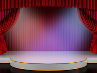 Empty stage with red curtain and spotlights