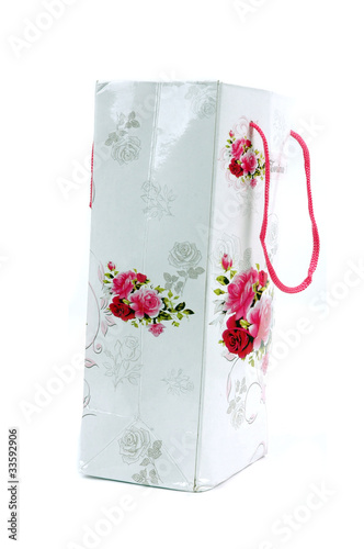 a floral glossy paper bag