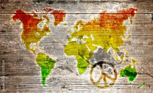 Holzschild - Rasta worldmap an peace symbol