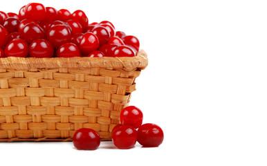 ripe cherry in basket