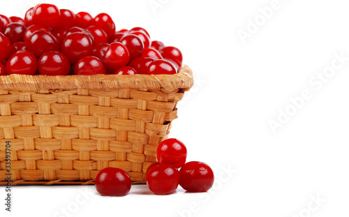 ripe cherry in basket