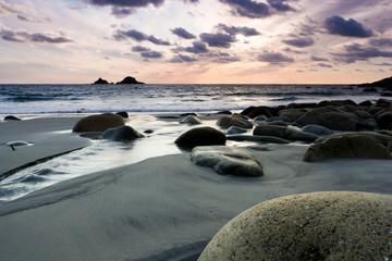 Vibrant beach sunset