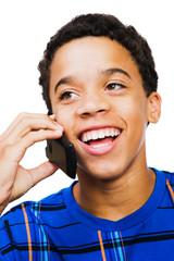 Happy Teenage Boy Talking On Phone