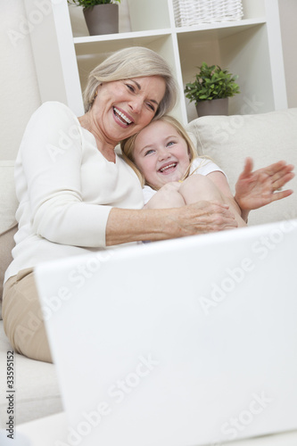 Senior Woman Grandmother & Grandaughter Girl Having Fun