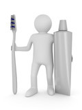 Man with tooth brush. Isolated 3D image