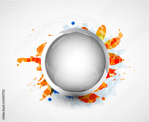 Silver smooth plate. Vector background