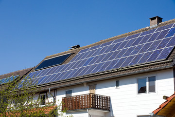 House with solar cells on the roof