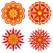 Four Retro Flowers Design Elements