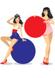Pin-up girls holding place-cards
