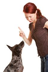 Frau tadelt ihren Hund