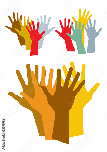 colorful hands silhouette vector