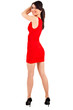 Full length sexy girl with red dress moving her hair