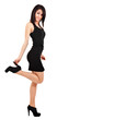 Beautiful girl with black dress isolated on white