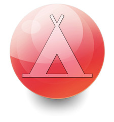 """Red Shiny Orb Button """"Camping Symbol"""""""
