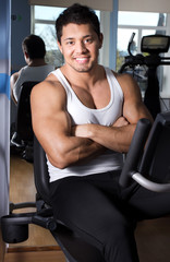 Handsome man in gym room