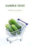 Cucumbers in a shopping cart
