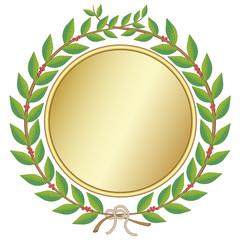 Laurel wreath with golden medal