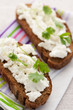 Sandwich with cottage cheese and coriander