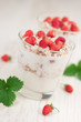 Yogurt with muesli and strawberries
