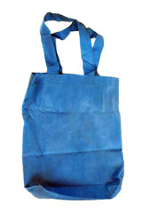 a blue cotton bag