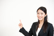 a portrait of asian businesswoman pointing