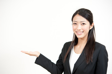 a portrait of asian businesswoman showing