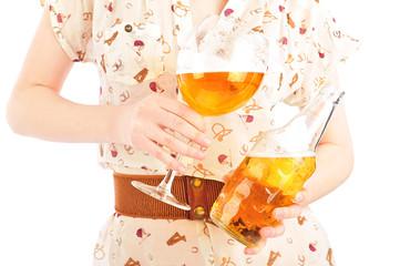 Funny oktoberfest beer holding woman