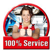 Car mechanic female shows thump up for excellent service