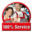 Car mechanics showing thumps up for excellent service