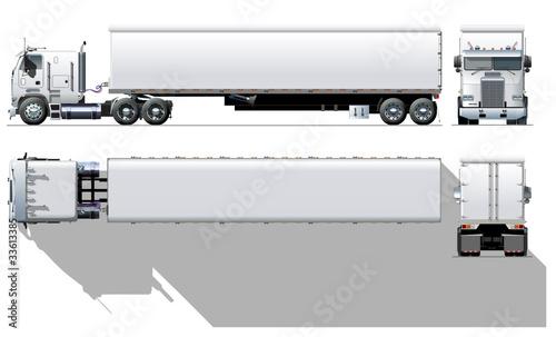 Vector hi-detailed commercial semi-truck