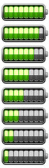 Set of Batteries at different charging status (collection)