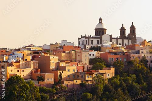canvas print picture Kirche San Sebastian und Stadt Agüimes, Gran Canaria