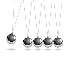 Newtons cradle isolate over white square background