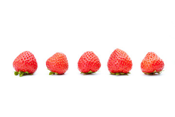 Line of fresh strawberries