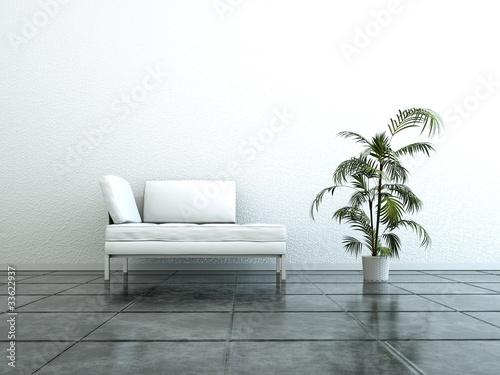 Wohndesign - weisses Sofa mit Pflanze