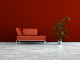Wohndesign rotes Ledersofa
