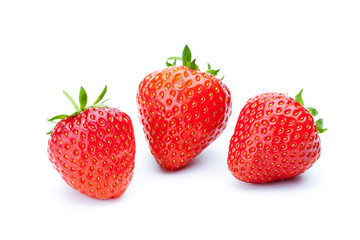 Three fresh strawberries