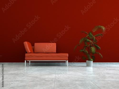 Wohndesign rotes Ledersofa