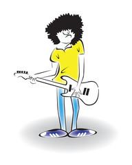 Гатарист играет на электрогитаре.