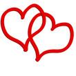 Zwei Herzen rot Liebe