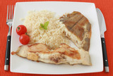 Fried flounder with boiled rice poster
