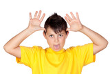Funny child with yellow t-shirt mocking poster