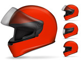 set of red motorcycle helmet isolated on white