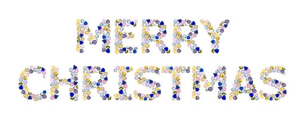 "Gemstones words, ""MERRY CHRISTMAS"". Isolated on white background"