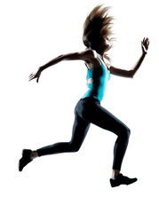 Female running at full speed with flying hair