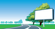 Road billboard and roadside trees
