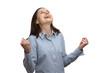 Junge erfolgreiche Frau freut sich und jubelt