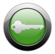 "Green Metallic Orb Button ""Key / Login Symbol"""