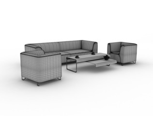 Furniture wire render isolated