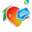 Icon mango with arrow by organic food. Vector illustration.